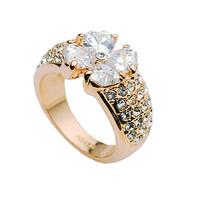 Кольцо с кристаллами Сваровски 009711